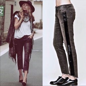 Free People Summer Solstice Destroyed Beaded Jeans